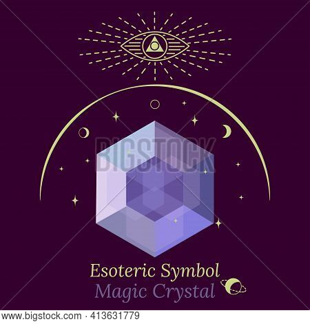 Template Of Magic Crystal For Spiritual Session, Fortune-telling. Faceted Crystal Glows With Facets,