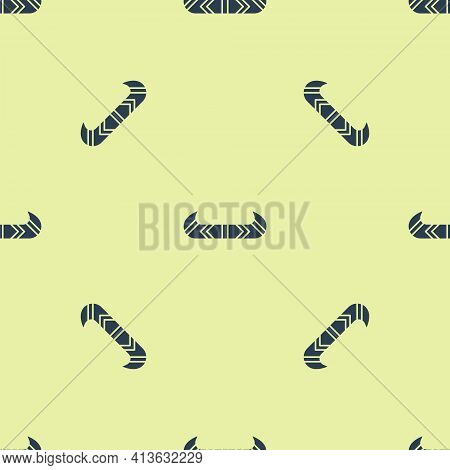 Blue Kayak And Paddle Icon Isolated Seamless Pattern On Yellow Background. Kayak And Canoe For Fishi