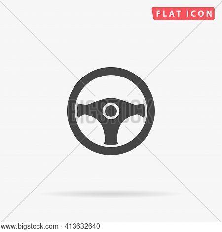 Steering Wheel Flat Vector Icon. Hand Drawn Style Design Illustrations.