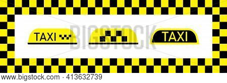Taxi Sign For Car. Cab On Yellow-black Checkered Background. Flag For Driver In Nyc. Checkerboard Pa