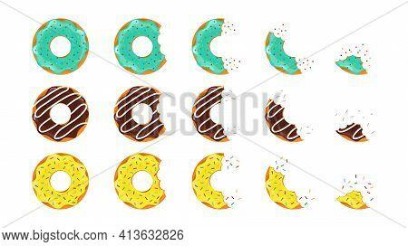 Donut Dessert. Doughnut Bite. Sweet Cake. Pink And Chocolate Donut. Icon Of Cartoon Food. Circle Dou