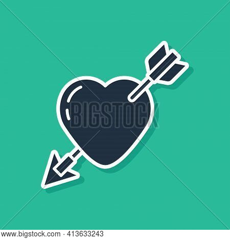 Blue Amour Symbol With Heart And Arrow Icon Isolated On Green Background. Love Sign. Valentines Symb