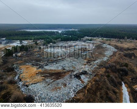 Aerial Top View Photo Of Large Garbage Pile At Solid Waste Landfill