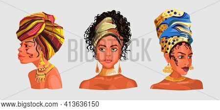 Set With Illustration Of An African Or Latinos Girls Wearing Pretty Heads Scarves And Earrings. Used