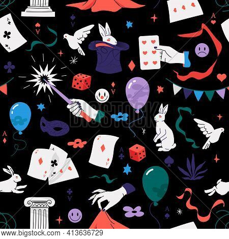 Magic Show Seamless Pattern. Vector Repeatable Design With Illusionist Props Such As Playing Cards,