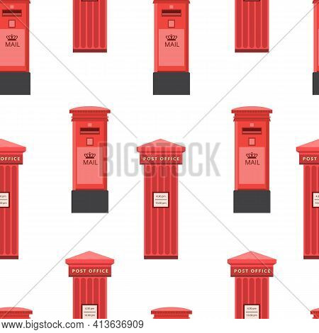 Seamless Pattern With Vintage Red Post Office Mail Box Flat Vector Illustration.