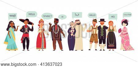 Multilingual Characters. Group Talking People, Conversation On Diverse Language. Communication Activ