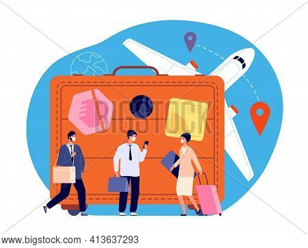 People With Suitcase. Person Miniatures, Holiday Travel New Style. Pandemic Tourism, Happy Woman Wit