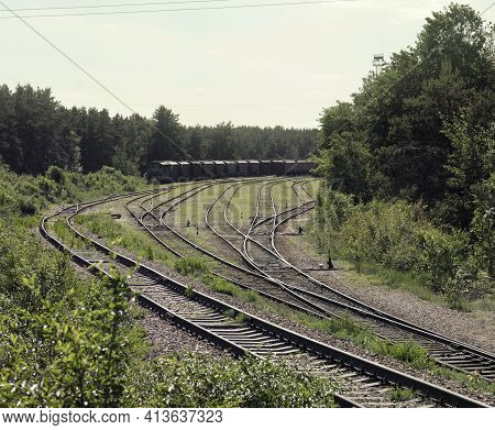 Railway Goods Station Tracks Intersection. Interlaced Turnouts With Manual Control