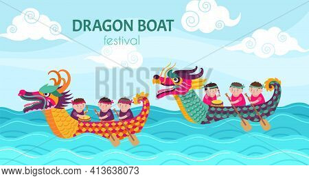 Dragon Boat Festival. Dragons Boats Cartoon Boys, Chinese Boating Water Race. Sport Competition, Hap