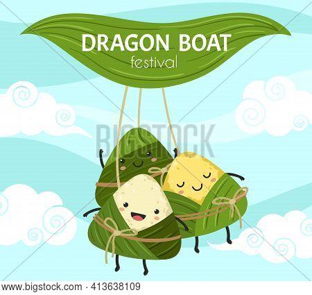 Rice Dumpling Festival. Asian Dumplings, Cute Chinese Food. Cartoon Dragon Boat Festival Poster, Bam