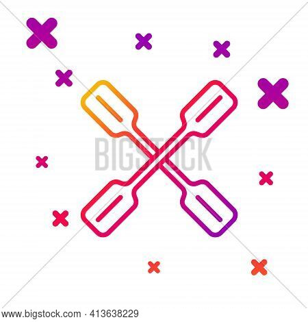 Color Line Paddle Icon Isolated On White Background. Paddle Boat Oars. Gradient Random Dynamic Shape