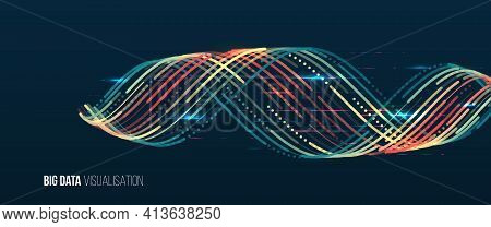 Computer Technology Sorting Data Concept. Machine Learning Algorithm. Waves Twisted Array Visual Con