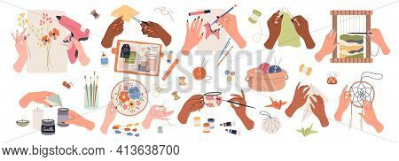 Needlework Embroidery. Human Hands Create Handmade Crafts, Artisan Tools And Accessory, Work And Hob