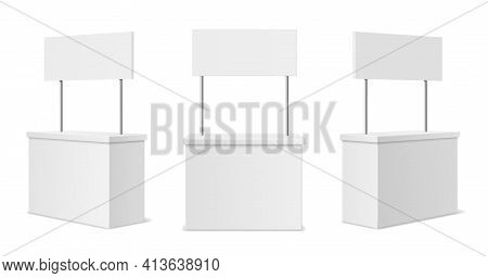 Advertising Stands. Realistic Blank Modern Simple Rack Or Counters Multiple Camera Angles, 3d Promot
