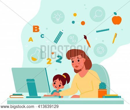 Online Children Education. Home Child Learning, Mother Helps Daughter With Completing Homework, Moni