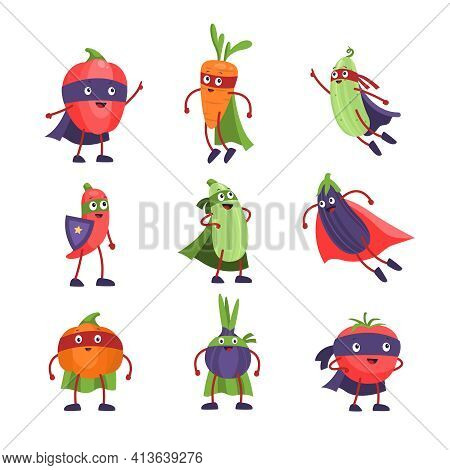Superhero Vegetables. Funny Cartoon Comic Healthy Vegetable, Vegan Characters With Masks And Capes,