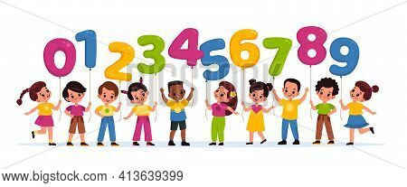 Kids With Balloons Numbers. Happy Children Hold Color Numerals, Boys And Girls And Colorful Numeric
