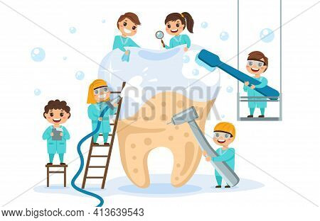 Big Tooth With Small Dentists. Little Children In Medical Uniforms Treat And Clean Teeth, Children T