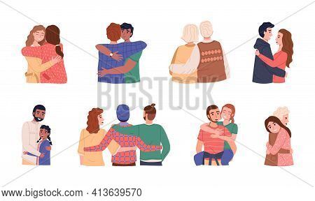 People Hug. Men And Women Different Ages And Nationalities. Happy Friends, Children And Parents Hugg