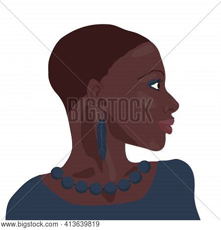 Portrait Of Beautiful African American Girl. Young Elegant Black Woman Head Profile Bust With Short
