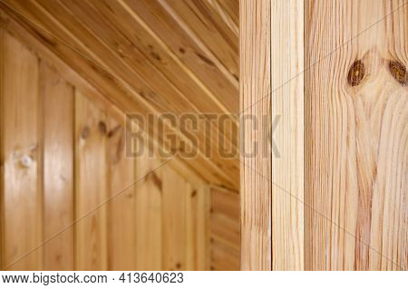 Interior Carpentry Closeup Background. Softwood Clapboard, Batten, Plank Timber Blockhouse Plank, Or