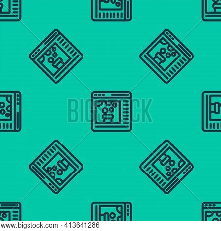 Blue Line Chemical Experiment Online Icon Isolated Seamless Pattern On Green Background. Scientific