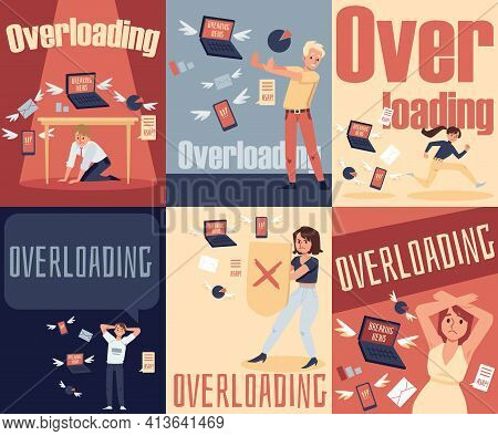 Concept Of Stress Due Information Overloading A Set Of Vector Flat Posters.