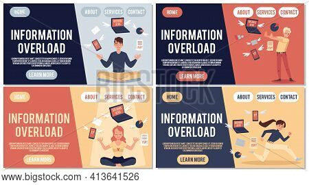 People Experience Stress And Tired Due Information A Vector Design For Web