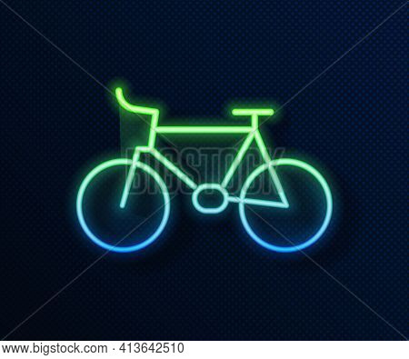 Glowing Neon Line Bicycle Icon Isolated On Blue Background. Bike Race. Extreme Sport. Sport Equipmen