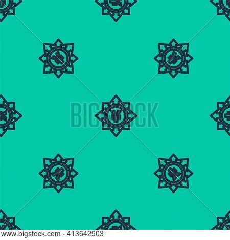 Blue Line Coin Money With Yen Symbol Icon Isolated Seamless Pattern On Green Background. Banking Cur