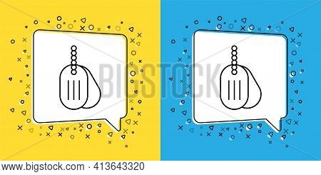 Set Line Military Dog Tag Icon Isolated On Yellow And Blue Background. Identity Tag Icon. Army Sign.
