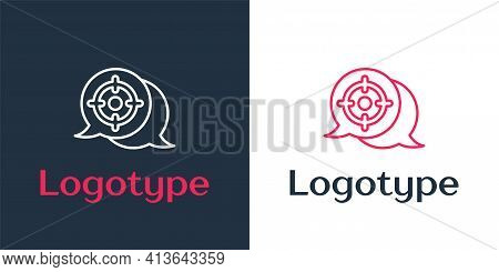 Logotype Line Target Sport Icon Isolated On White Background. Clean Target With Numbers For Shooting
