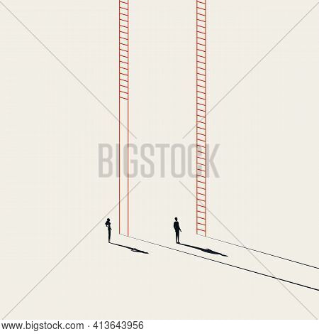 Business Inequality In Career, Vector Concept. Symbol Of Unequal Corporate Ladder, Discrimination. M