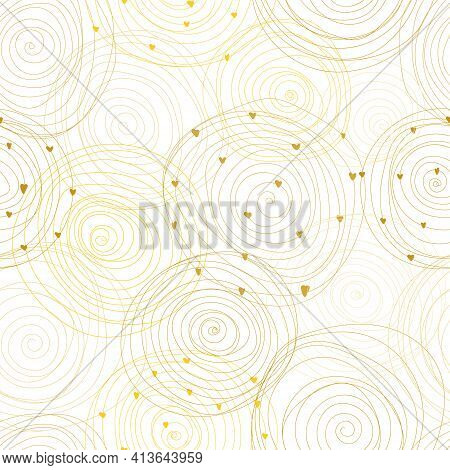 Modern Seamless Patterns With Gold Doodle Spiral Circles On A White Background. Vector Illustration.
