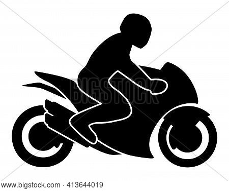 Motorcycle Rider On A Sport Bike Silhouette Isolated Vector Illustration