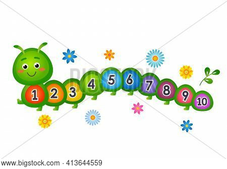 Child Study Allowance For Counting Up To 10. Cute Caterpillar With Numbers. Vector Illustration Isol