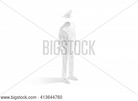 Blank White Chef Uniform Mock Up, Side View, 3d Rendering. Empty Chief-cooker Coat And Toque Costume