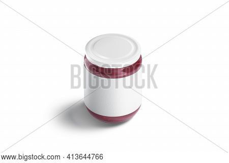 Blank Glass Jar With White Label And Berry Jam Mockup, 3d Rendering. Empty Jug Conservation With Che