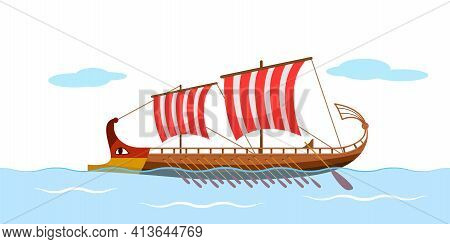 Greek Galley With Oars, Argonauts, Golden Fleece. Ancient Ship With A Sail. Vector Illustration