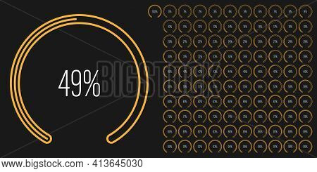 Set Of Circular Sector Percentage Diagrams Meters From 0 To 100 Ready-to-use For Web Design, User In
