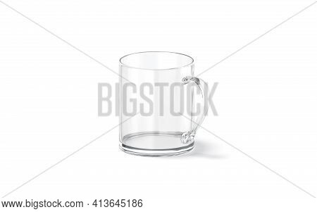 Blank Transparent Glass 11oz Mug With Handle Mockup Stand, Isolated, 3d Rendering. Empty Acrylic Gla