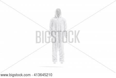 Blank White Plush Jumpsuit With Hood Mockup, Front View, 3d Rendering. Empty Fleece Hooded Kigurumi
