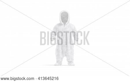 Blank White Kid Plush Jumpsuit With Hood Mockup, Front View, 3d Rendering. Empty Nightwear Overall F