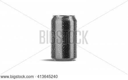 Blank Black Aluminum 330 Ml Soda Can With Drops Mockup, 3d Rendering. Empty Aerated Beverage In Wet