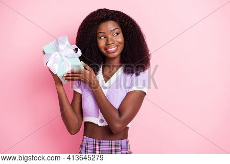 Portrait Of Attractive Cheerful Wavy-haired Girl Holding In Hands Giftbox Sale Shop Discount Isolate
