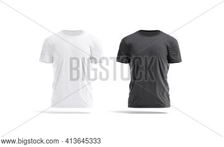 Blank Black And White Wrinkled T-shirt Mockup Set, Front View, 3d Rendering. Empty Fabric Crumpled T