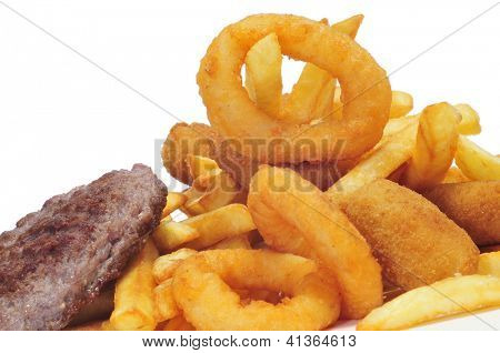 closeup of a spanish combo platter with burgers, croquettes, calamares and french fries poster