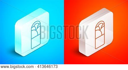 Isometric Line Doner Kebab Icon Isolated On Blue And Red Background. Shawarma Sign. Street Fast Food
