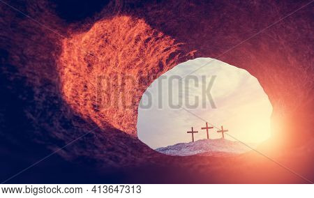 Tomb of Jesus Christ. Crucifixion And Resurrection. Religion, Easter theme. 3D illustration